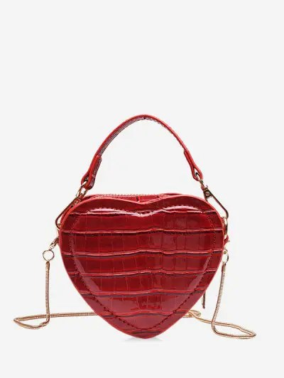 Heart Shape Animal Skin Pattern Mini Shoulder Bag