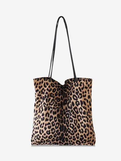 Brief Leopard Print Canvas Shoulder Bag