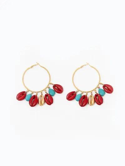 Shell Tassel Hoop Earrings