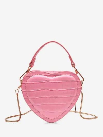 Heart Shape Animal Skin Pattern Mini Shoulder Bag