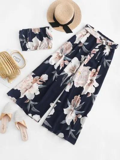 Floral Bandeau Top And Pants Set