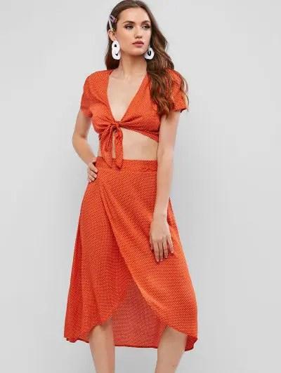 Polka Dot Crop Blouse and Skirt Set