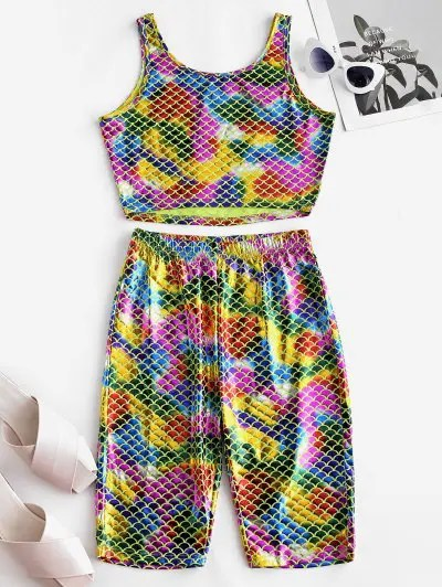 Metallic Scale Print Top and Shorts Set
