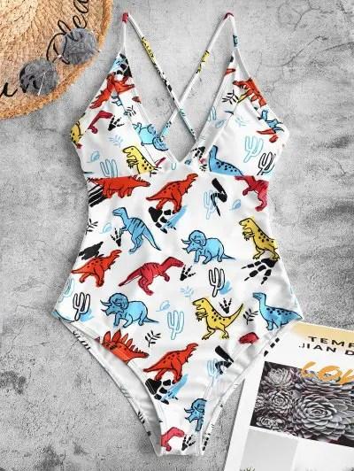 Dinosaur Print Crisscross One piece Swimsuit