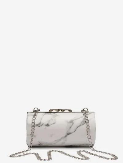 Marble Print Chain Cylinder Bag
