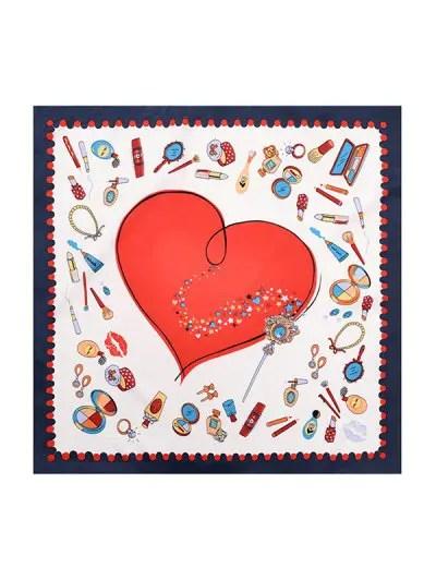 Cartoon Heart Twill Silky Square Scarf