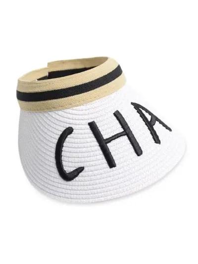 Letter Embroidery Visor Straw Hat