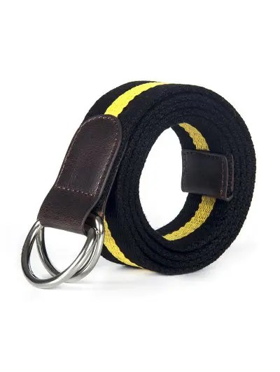 Double Ring Canvas Knitted Striped Pattern Belt
