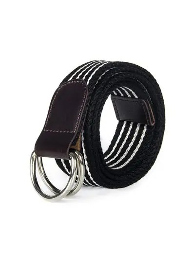Double Ring Buckle Canvas Knitted Striped Pattern Belt