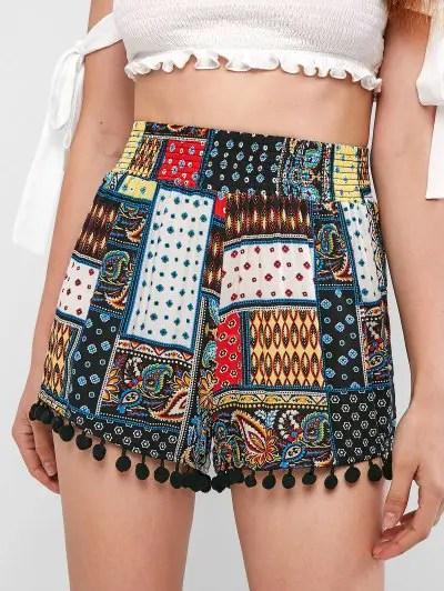Tribal Print Pompoms Shorts