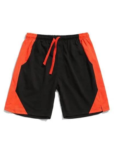 Mesh Color Block Spliced Shorts