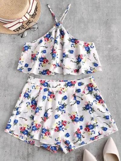 Floral Sleeveless Flounce Shorts Set