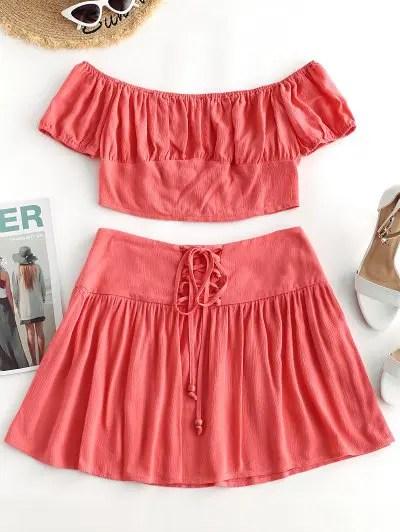 Off Shoulder Top and Lace up Skirt Set