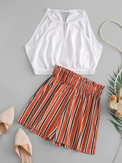 Top And Stripes Shorts Set
