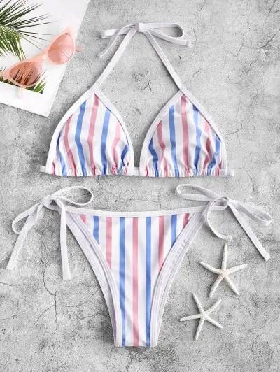 Multi Striped Piping Tie Side Bikini Swimsuit