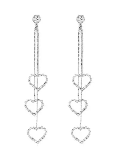Love Heart Rhinestone Tassel Earrings