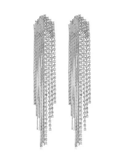 Long Rhinestone Tassel Drop Earrings