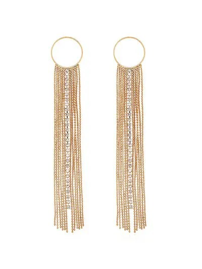 Circle Rhinestone Long Chain Earrings