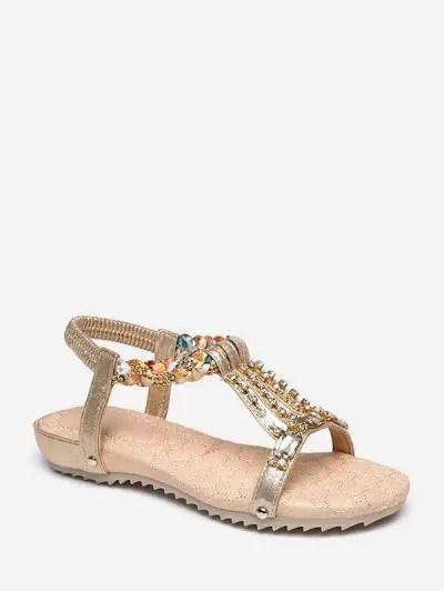 Rhinestone Decorated Flat Heel Sandals