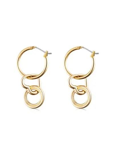 Alloy Circle Heart Hoop Earrings