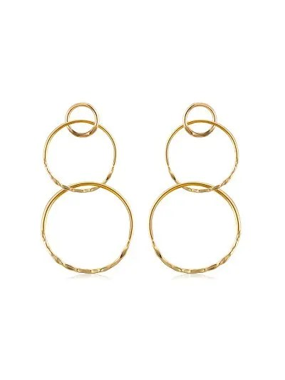 Alloy Layered Round Drop Earrings