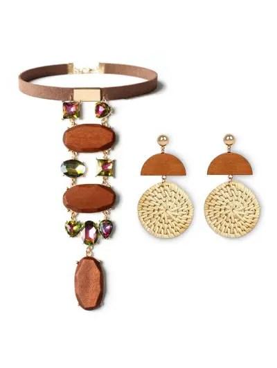 Choker Necklace Earrings Weave Jewelry Set