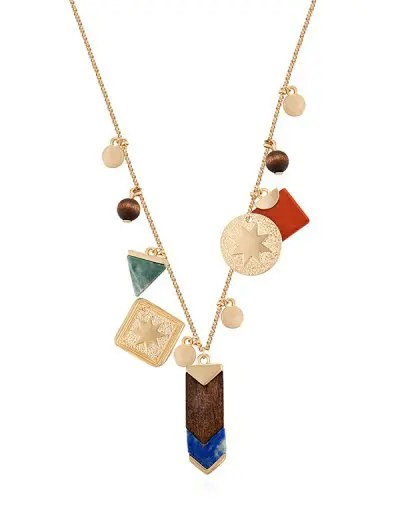 Eight Star Geometric Wooden Bead Necklace