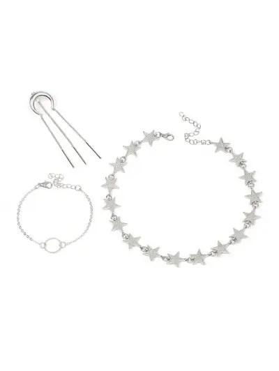 Moon Star Circle Tassel Necklace Bracelet Earring Set