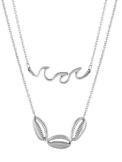 Double Layer Shell Wavy Chain Necklace