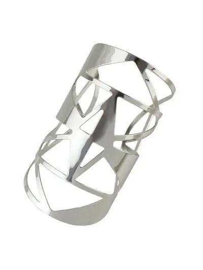Wide Hollow Geometric Cuff Bracelet
