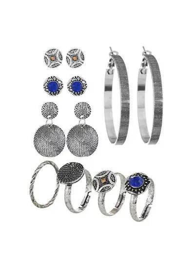 Retro Hoop Round Stud Earrings And Ring Set