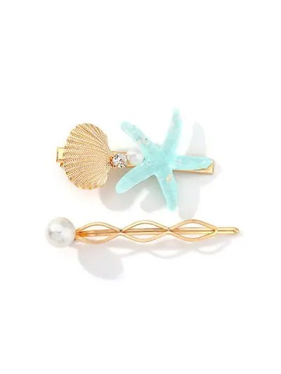 2Pcs Starfish Shell Hairgrip Set