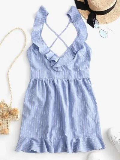 Striped Cross Ruffled Dress