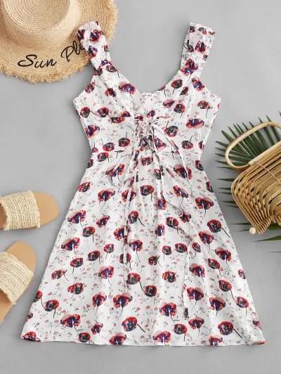 Flower Print Lace Up Mini Dress