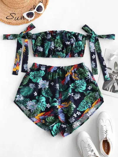 Tropical Plant Print Top and Shorts Set