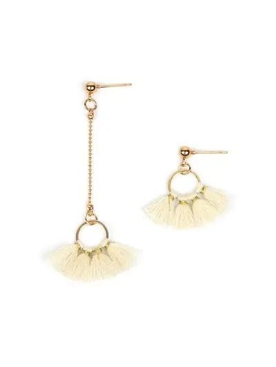 Asymmetric Circle Tassel Drop Earrings