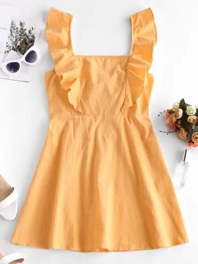 Square Neck Ruffled Mini Dress