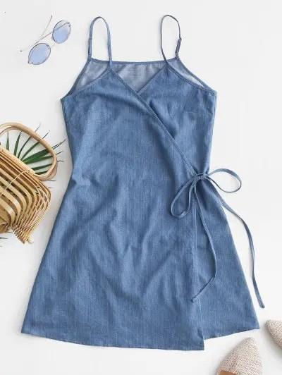 Chambray Cami Wrap Dress