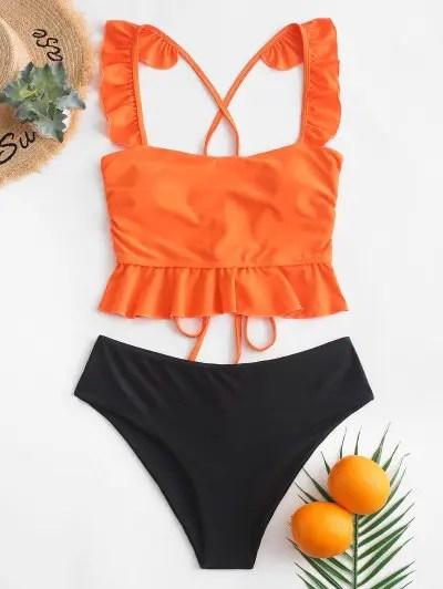 Ruffle Lace up Tankini Swimsuit