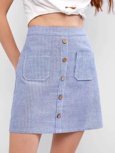 Front Pocket Striped Mini Skirt
