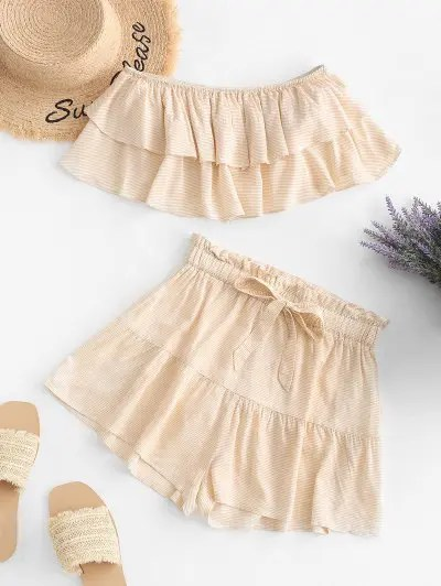 Stripe Print Strapless Top and Mini Shorts Set