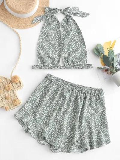 Printed Top and Shorts Set