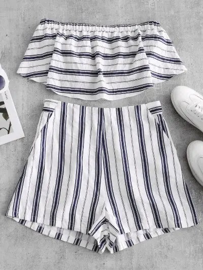 Striped Tube Top and Shorts Set