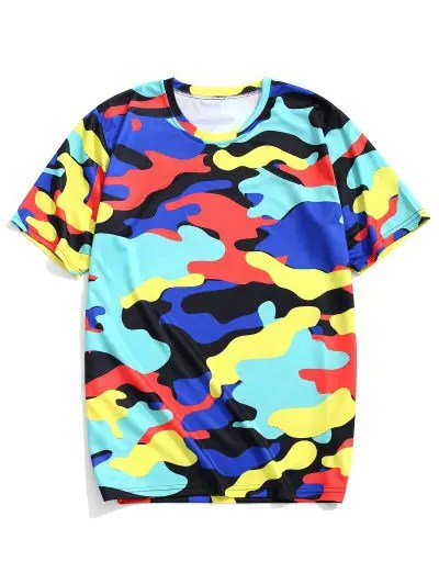 Colorful Camouflage Print T shirt
