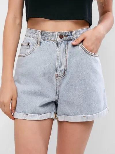 Rolled Hem Boyfriend Denim Shorts
