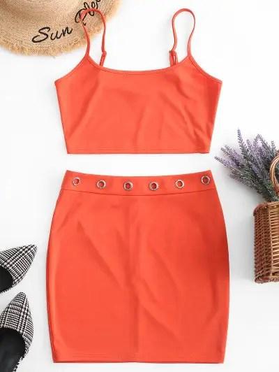 Cami Top and Eyelet Skirt Set