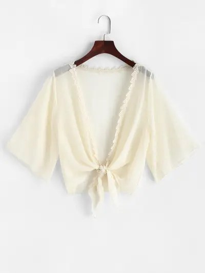 Crochet Trim Tie Front Cover up