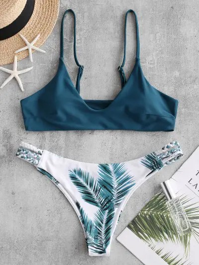 Braided Bralette Leaf Print Bikini Swimsuit