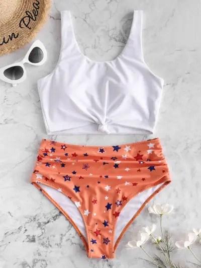 Knot Star Print High Waisted Tankini Swimsuit