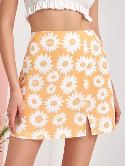 Flower Print Slit A Line Skirt